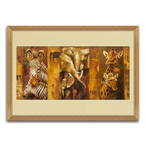 Quadro Decorativo Famílias da África em Madeira - 81x54 cm