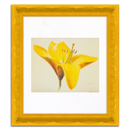 Quadro Decorativo Flor Amarela em Madeira - 44x39 cm
