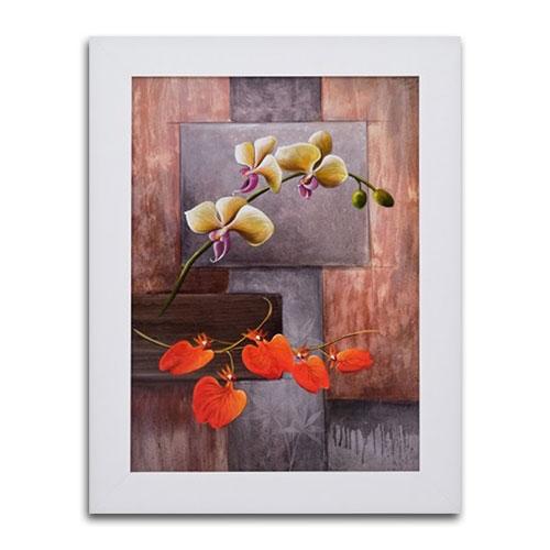 Quadro Decorativo Flor Duo em Madeira - 83x63 cm