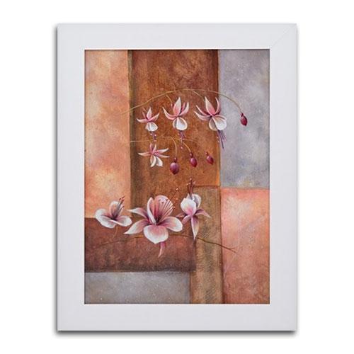 Quadro Decorativo Flor Duo Vintage em Madeira - 83x63 cm