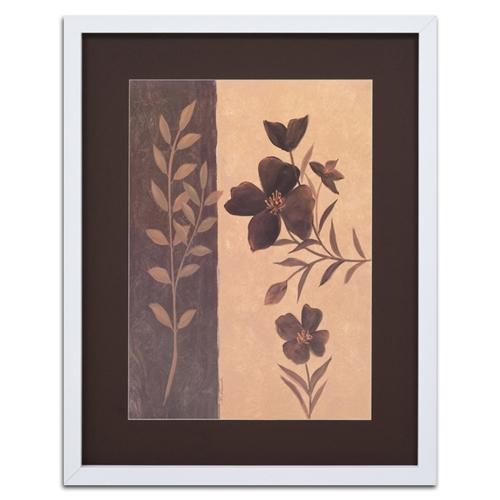 Quadro Decorativo Flor e Folhas em Madeira - 94x74 cm
