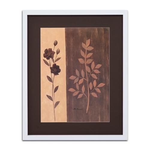 Quadro Decorativo Flor e Folhas Vintage em Madeira - 94x74 cm