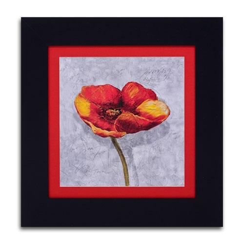 Quadro Decorativo Flor Laranja/Vermelha II em Madeira - 52x52 cm