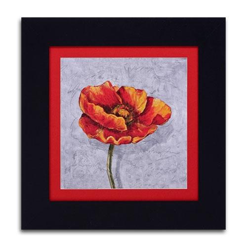 Quadro Decorativo Flor Laranja/Vermelha em Madeira - 52x52 cm