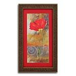 Quadro Decorativo Flor Vermelha Tradicional em Madeira