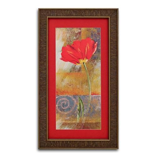 Quadro Decorativo Flor Vermelha Tradicional em Madeira - 67x38 cm