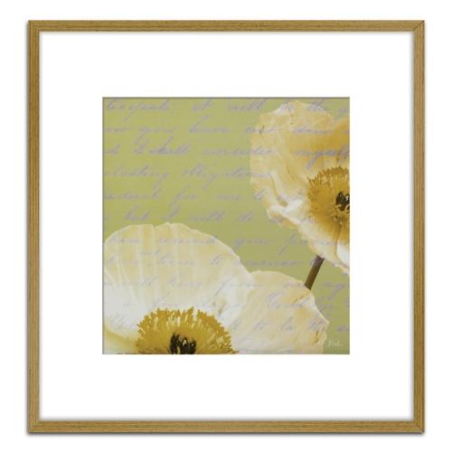 Quadro Decorativo Floral Branca I em Madeira Crua - 73x73 cm