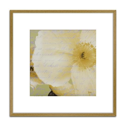 Quadro Decorativo Floral Branca II em Madeira Crua - 73x73 cm