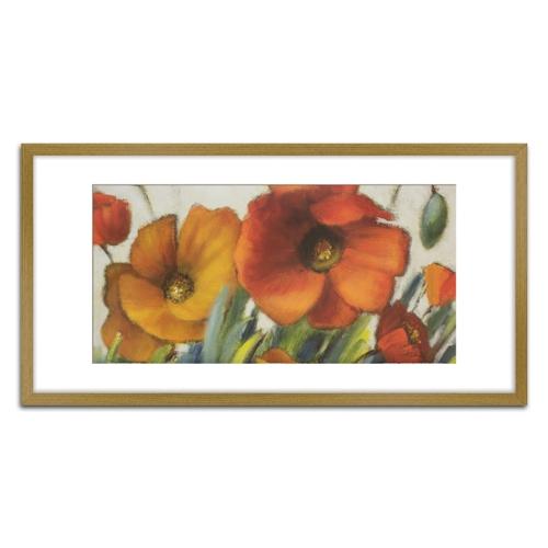 Quadro Decorativo Floral II em Madeira Crua - 81x43 cm