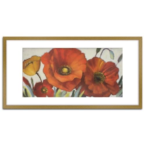 Quadro Decorativo Floral em Madeira Crua - 81x43 cm