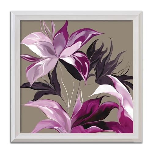 Quadro Decorativo Floral Roxo II - Moldura Branca - em Madeira - 68x68 cm