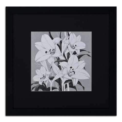 Quadro Decorativo Flores em Preto e Branco em Madeira - 89x89 cm