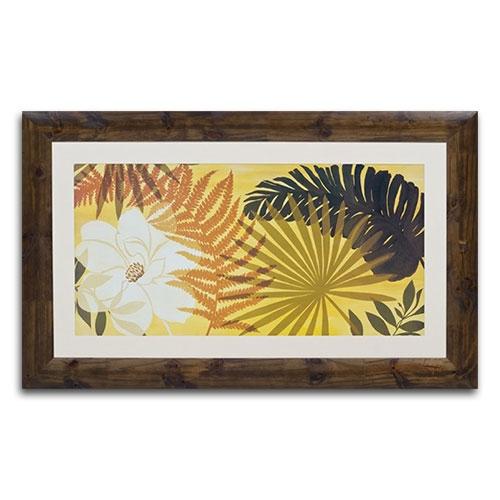 Quadro Decorativo Flores Tropicais em Madeira - 129x79 cm