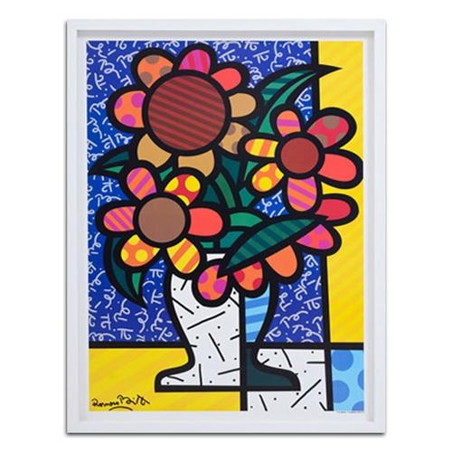 Quadro Decorativo Flowers Por Romero Britto em Madeira - 85x64 cm