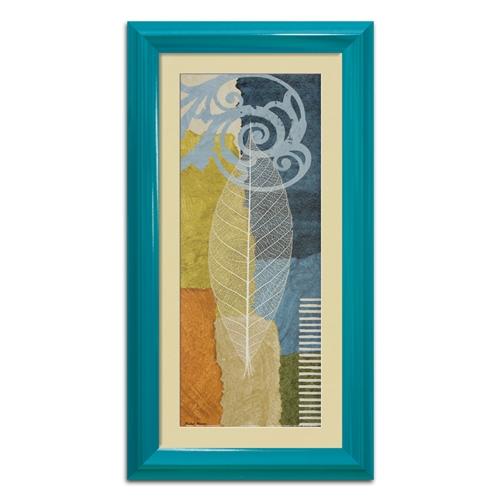 Quadro Decorativo Folha Azul Vintage II em Madeira - 63x33 cm