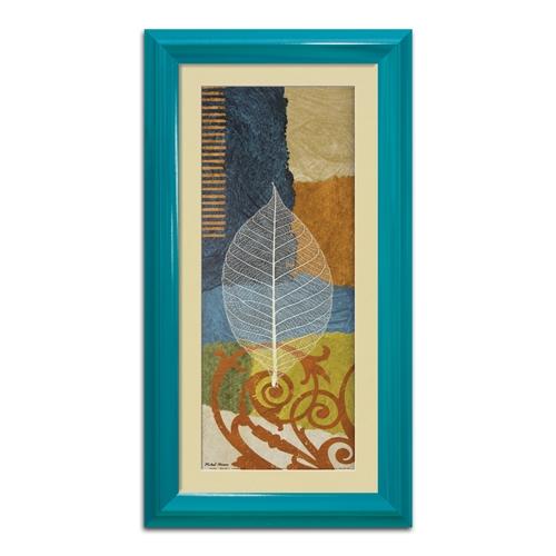 Quadro Decorativo Folha Azul Vintage em Madeira - 63x33 cm