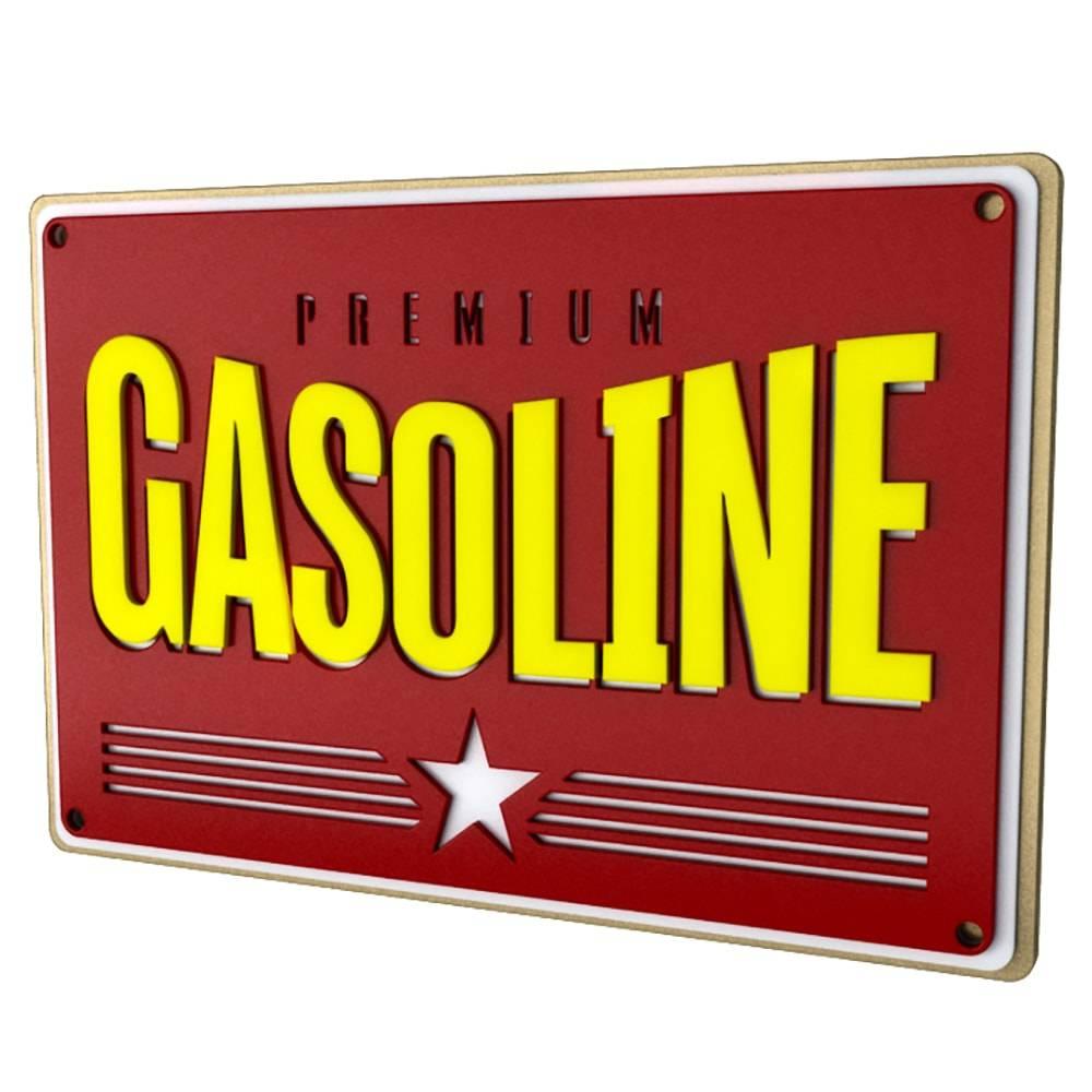 Quadro Decorativo Gasolina Premium Vermelho em MDF - 40x26,8 cm