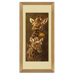 Quadro Decorativo Girafa e Filhote em Madeira