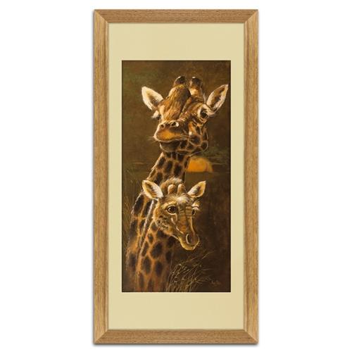 Quadro Decorativo Girafa e Filhote em Madeira - 70x35 cm