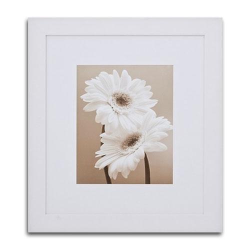 Quadro Decorativo Girassol Branco e Preto em Madeira - 87x77 cm
