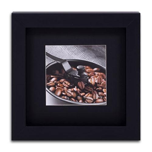 Quadro Decorativo Grãos de Café Marrom em Madeira - 32x32 cm