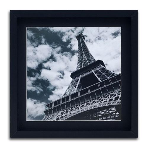 Quadro Decorativo Gravura Torre Eiffel Preto e Branco em Madeira - 40x40 cm