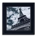 Quadro Decorativo Gravura Torre Eiffel Preto em Madeira