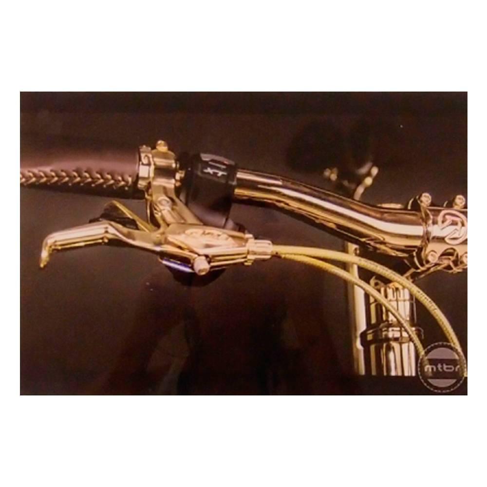 Quadro Decorativo Guidão Bicicleta Dourada em Vidro - 30x20 cm
