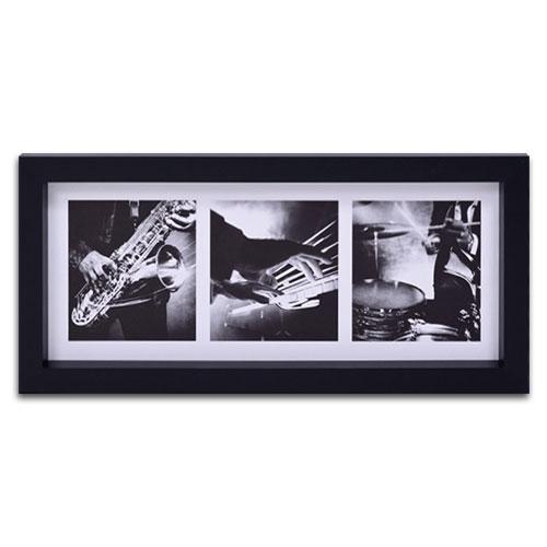 Quadro Decorativo Instrumentos Musicais em Madeira - 55x25 cm