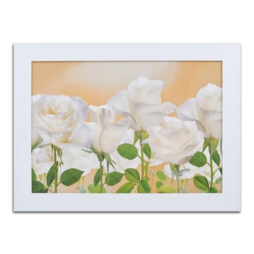 Quadro Decorativo Jardim de Rosas Brancas em Madeira - 117x87 cm