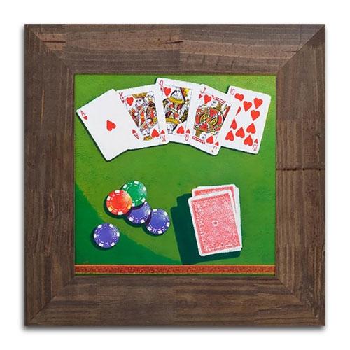 Quadro Decorativo Jogo de Poker em Madeira - 52x52 cm