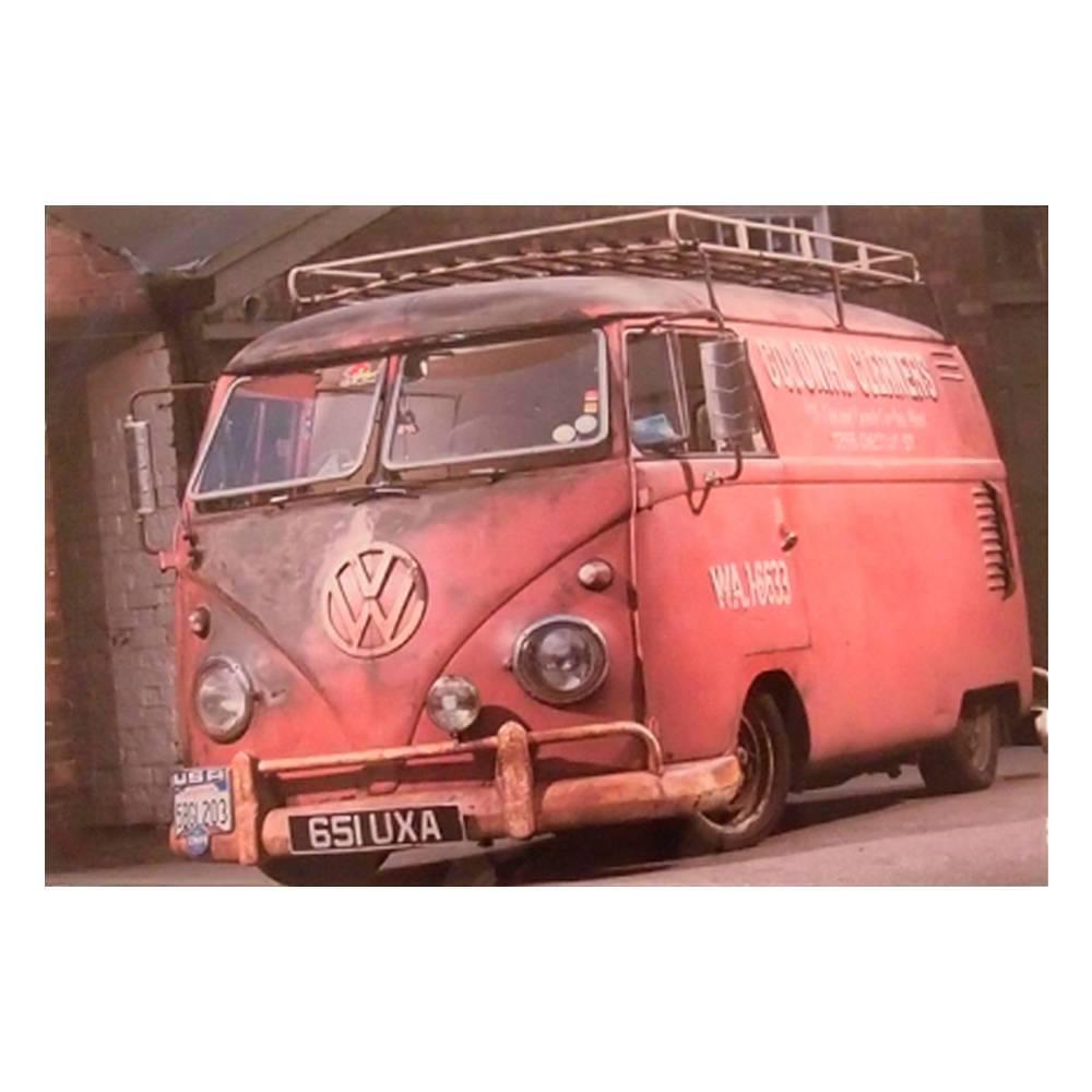 Quadro Decorativo Kombi Vintage Vermelha em Vidro - 30x20 cm