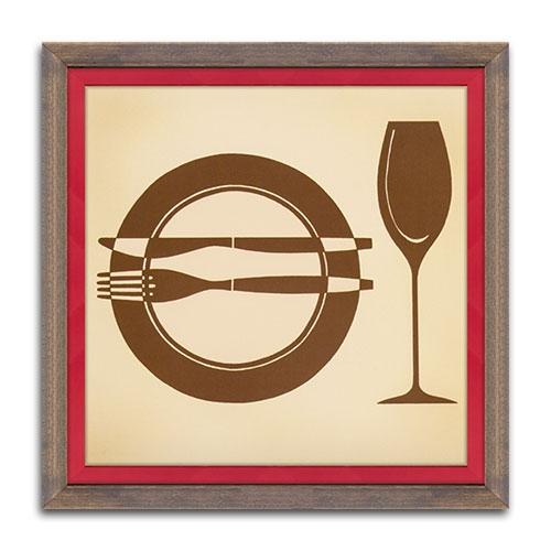 Quadro Decorativo La Cena - Elegance - em Madeira - 38x38 cm
