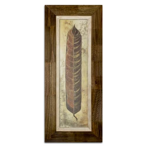 Quadro Decorativo La Pluma I em Madeira - 122x48 cm
