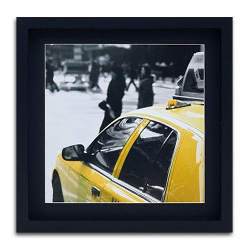 Quadro Decorativo Lateral Táxi Amarelo NY em Madeira - 40x40 cm