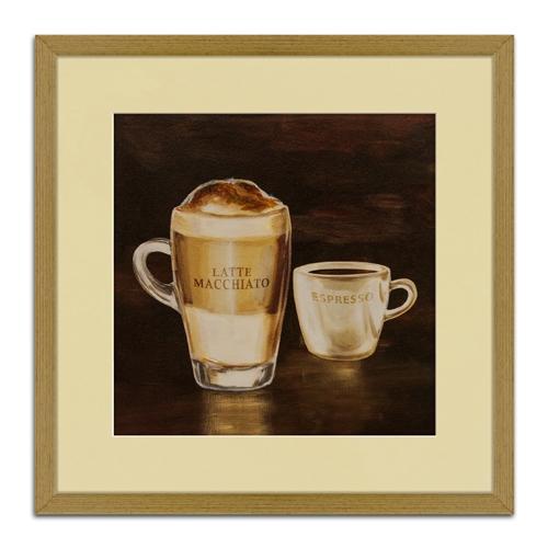 Quadro Decorativo Latte Macchiato e Expresso em Madeira - 51x51 cm