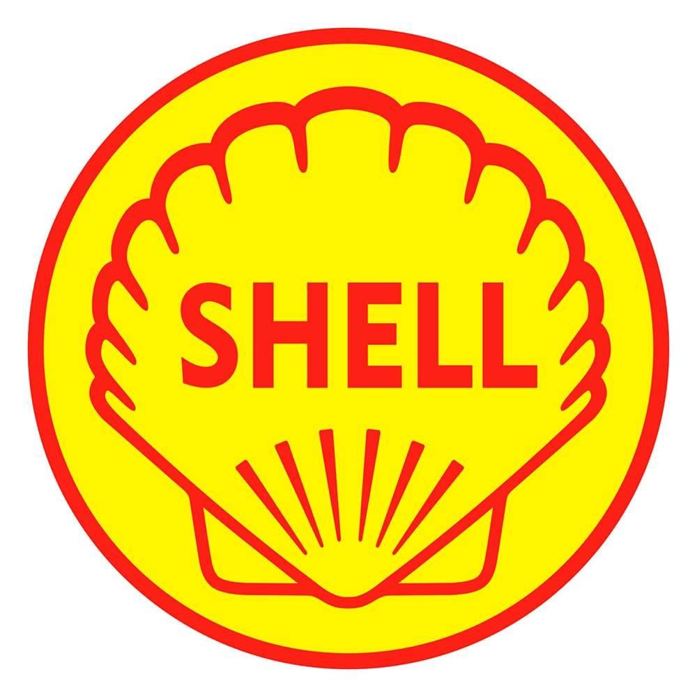 Quadro Decorativo Logomarca Shell 1955 Amarelo e Vermelho em MDF - 40x40 cm