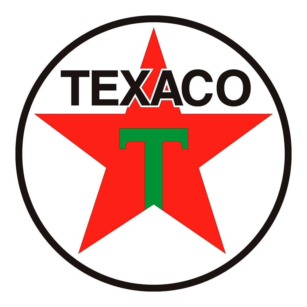 Quadro Decorativo Logomarca Texaco 1948 Multicolorido em MDF - 40x40 cm
