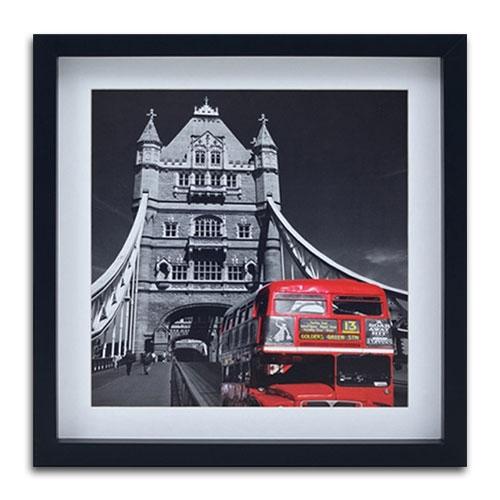 Quadro Decorativo London Red Bus em Madeira - 40x40 cm