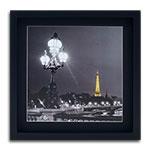 Quadro Decorativo Lustre e Torre Eiffel em Madeira