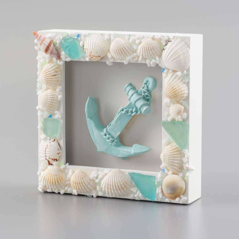 Quadro Ancora Adornado de Conchas Branco em Madeira - 15x4 cm