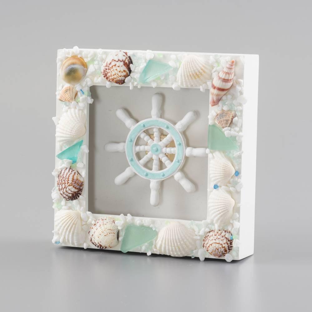 Quadro Timão Adornado de Conchas Branco em Madeira - 15x4 cm