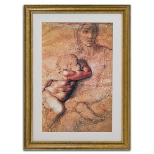 Quadro Decorativo Madonna Col Bambino em Madeira - 98x72 cm