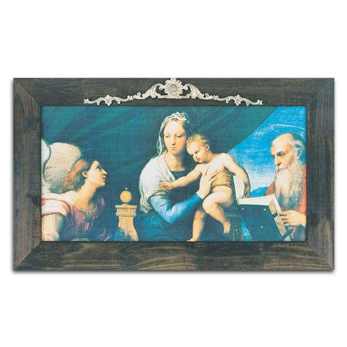 Quadro Decorativo Madonna del Pesce em Madeira - 127x76 cm