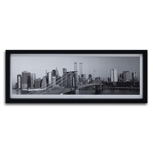 Quadro Decorativo Manhattan de Dia em Preto e Branco em Madeira - 94x34 cm