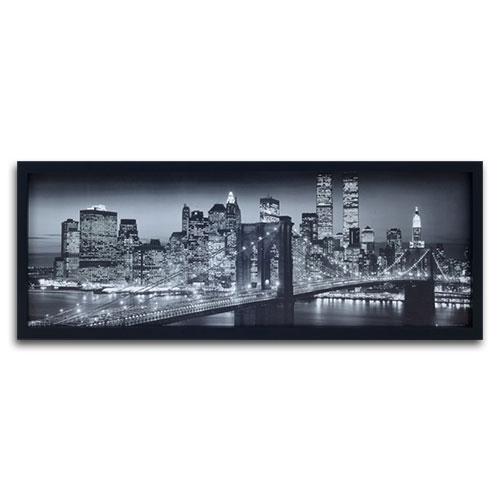 Quadro Decorativo Manhattan a Noite em Preto e Branco em Madeira - 94x34 cm