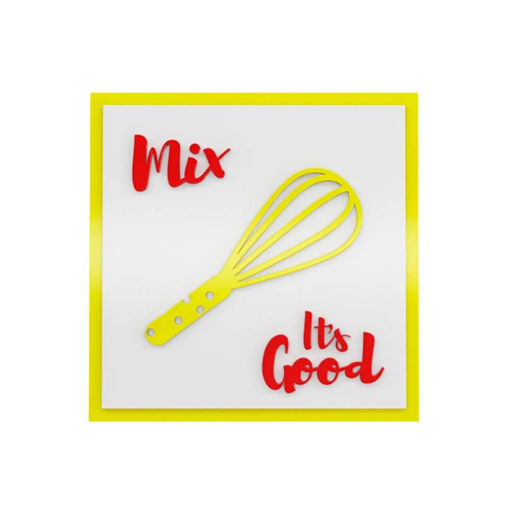 Quadro Decorativo Mix Its Good Branco e Amarelo em MDF - 30x30 cm