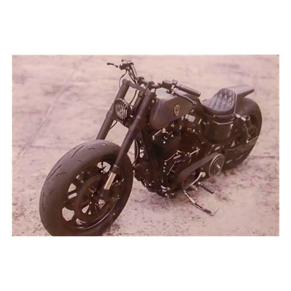 Quadro Decorativo Moto Antiga Preta Estacionada em Vidro - 30x20 cm