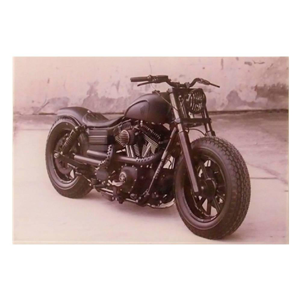 Quadro Decorativo Moto Antiga Preta em Vidro - 30x20 cm
