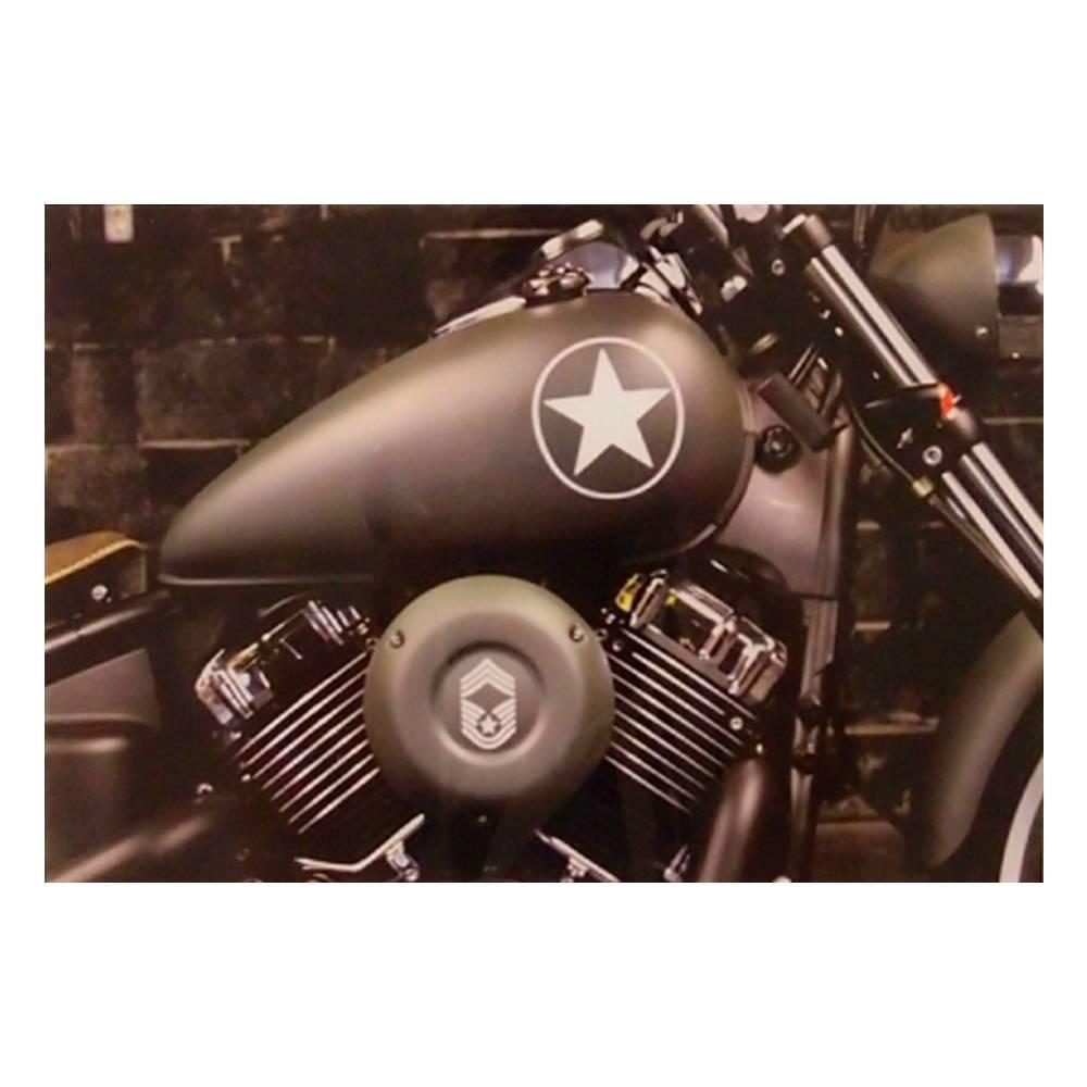 Quadro Decorativo Motor de Moto do Exército Verde em Vidro - 30x20 cm